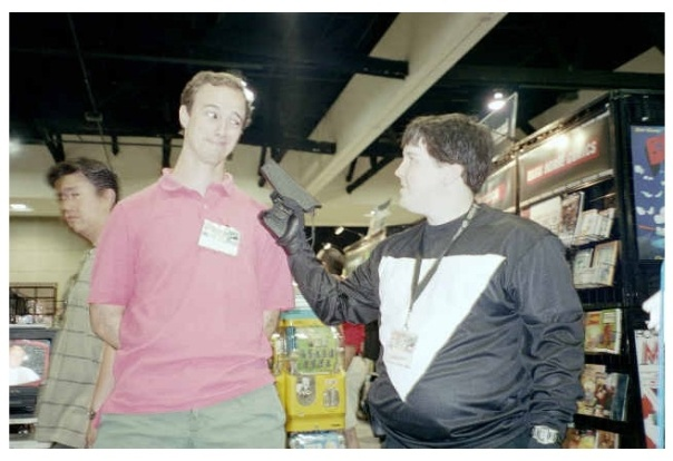 T Campbell (left) in a tense hostage situation.